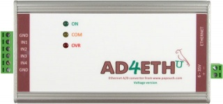 AD4ETH - Ethernet Analogue Input unit with Web Server, email, SNMP, XML and ModbusTCP