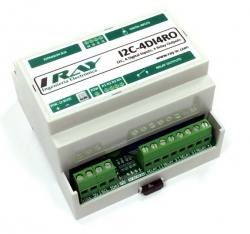 I2C-4DI4RO - I2C Expansion Module - 4 Digital Inputs, 4 Relay Out