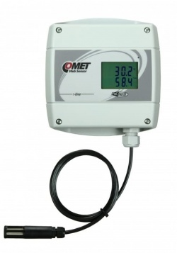 T7611 - Ethernet Temperature, Humidity and Atmospheric Pressure Alarm unit with LCD and POE. External Probe