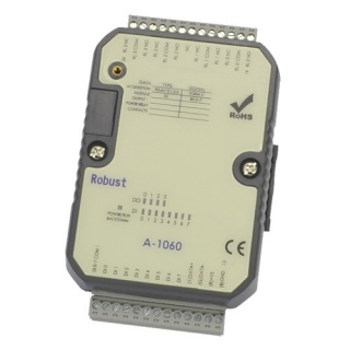 A-1060 RS485 Modbus IO Unit - 8 Digital Inputs, 4 Relay Outputs