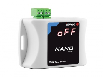 NANO_IN_POE - Ethernet Digital input Unit with pulse counting, Web, SNMP, Modbus TCP, LED Display, POE
